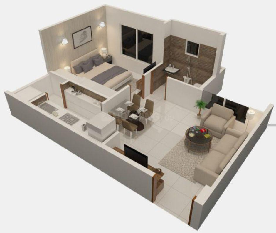 Floor Plan Image of 396.97 - 573.39 Sq.ft 1 BHK Apartment for buy in Nebula Aavas Sanand Phase 1