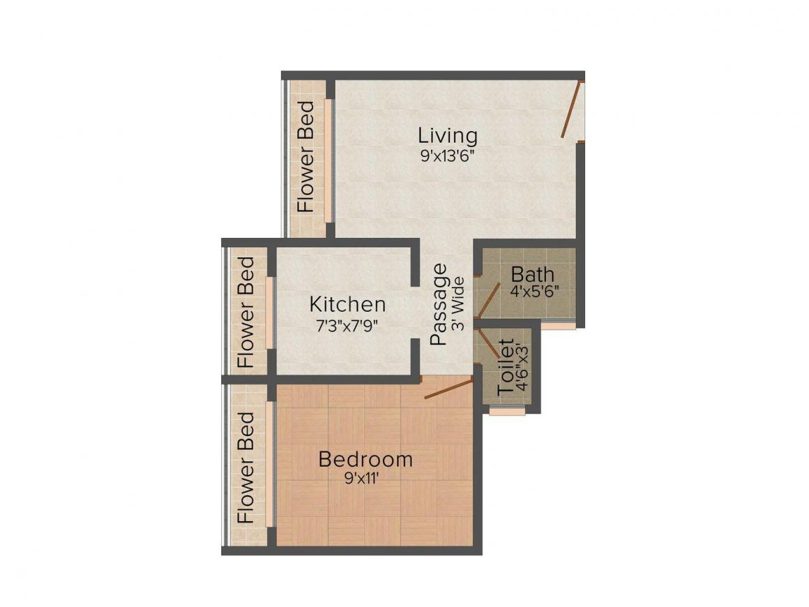 Floor Plan Image of 0 - 580.0 Sq.ft 1 BHK Apartment for buy in Avinash Sai Ganesh Complex