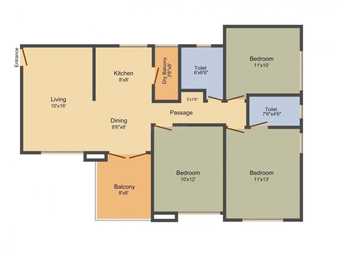 Ratan Presitge Floor Plan: 3 BHK Unit with Built up area of 1228 sq.ft 1
