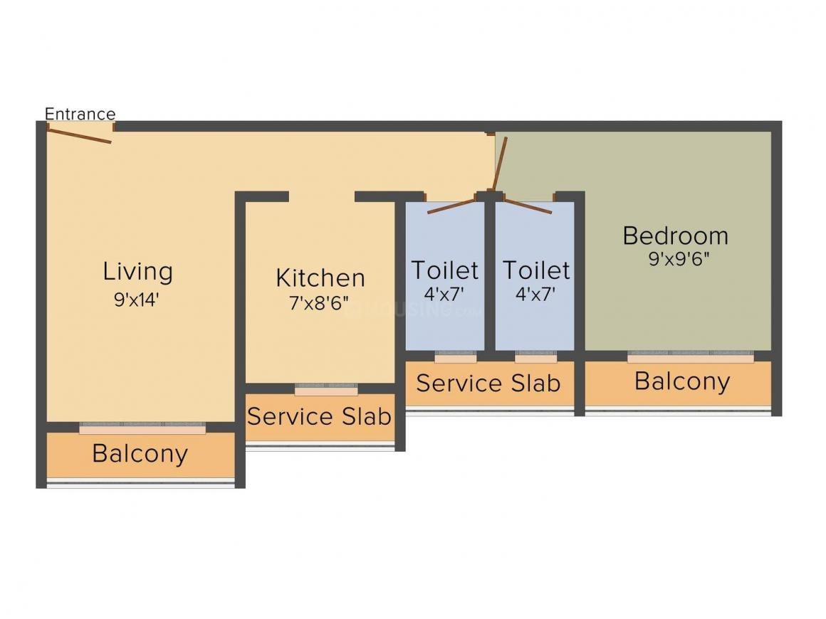 Floor Plan Image of 667.0 - 983.0 Sq.ft 1 BHK Apartment for buy in Crystal  Fiama NX
