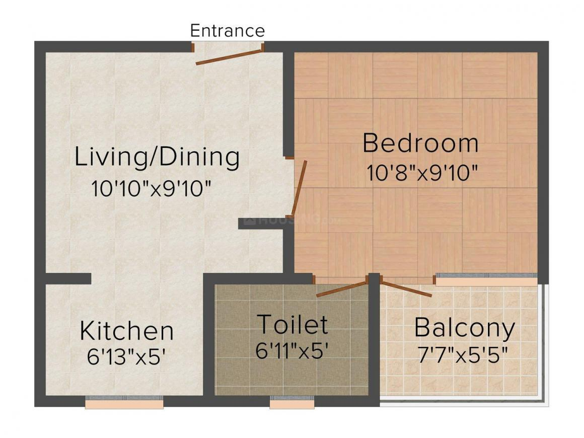 Floor Plan Image of 279.0 - 1150.0 Sq.ft 1 BHK Apartment for buy in Indra Candour