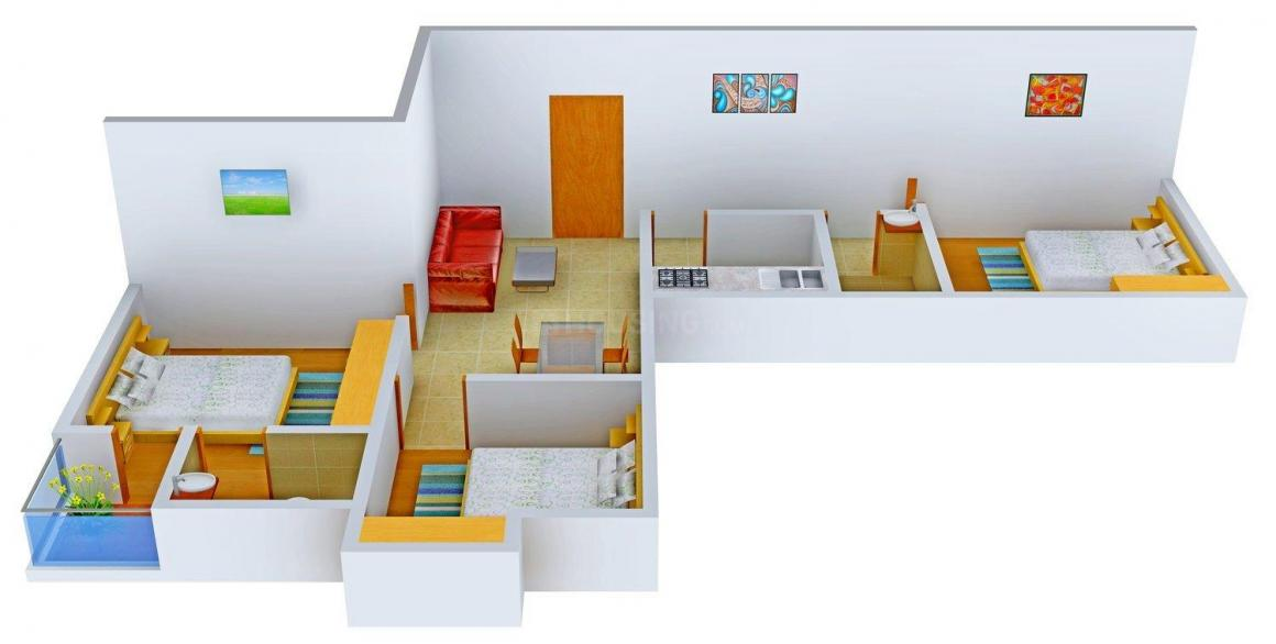 Floor Plan Image of 1125.0 - 1356.0 Sq.ft 3 BHK Apartment for buy in Ashray Purba Exotica
