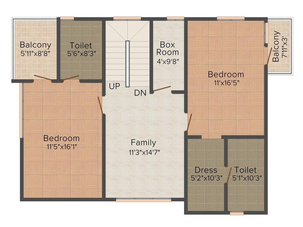 Floor Plan Image of 1740 - 2585 Sq.ft 3 BHK Villa for buy in GVSPL County