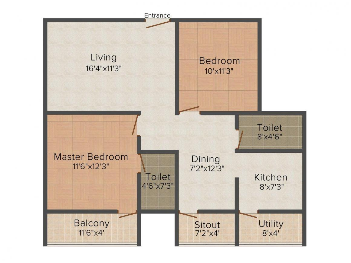 Floor Plan Image of 553 - 1250 Sq.ft 1 BHK Apartment for buy in Mahaveer Galaxy