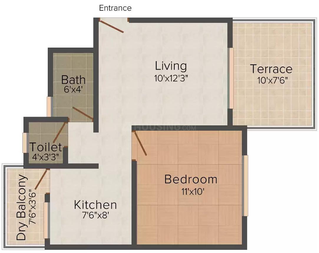 Maheshwari Suvarn Aalay Floor Plan: 1 BHK Unit with Built up area of 592 sq.ft 1