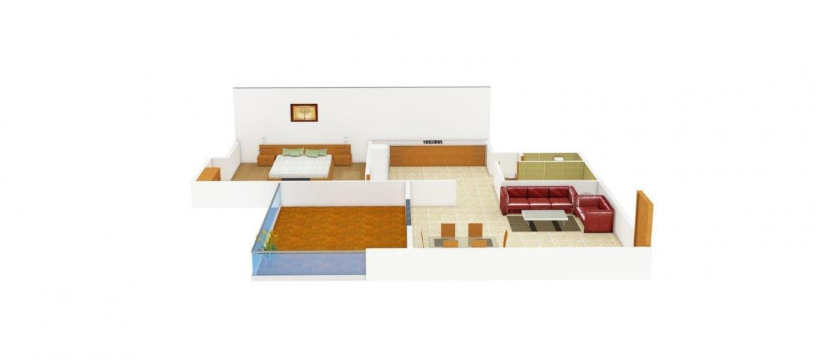 Floor Plan Image of 630.0 - 940.0 Sq.ft 1 BHK Apartment for buy in Rajratna Rajeshwari Enclave