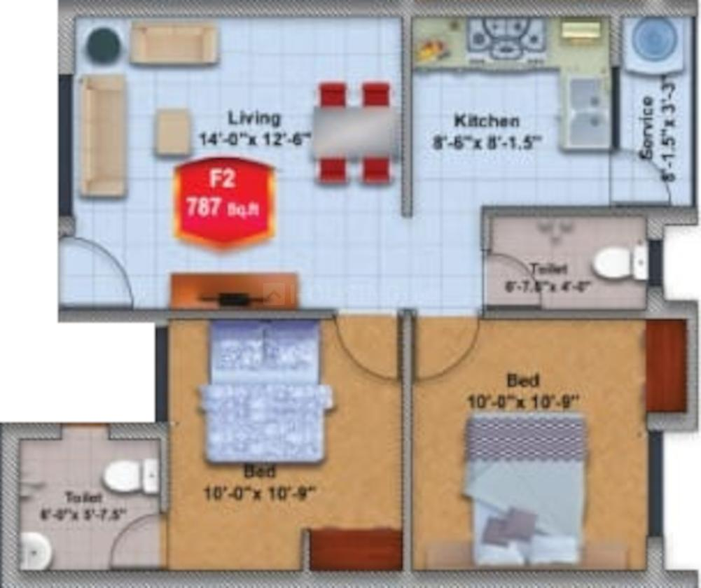 M C Chenthur Flats Floor Plan: 2 BHK Unit with Built up area of 787 sq.ft 1