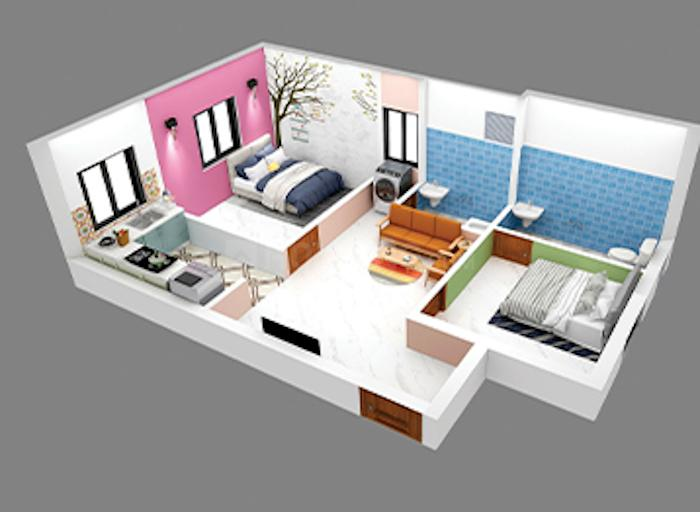 ATH Orchid Spring Floor Plan: 2 BHK Unit with Built up area of 650 sq.ft 1