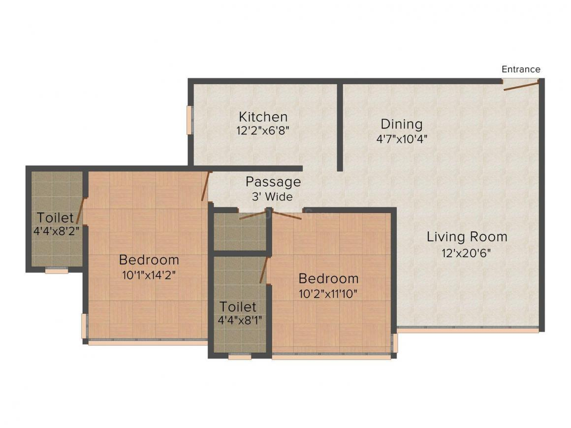 Dudhwala The Crest Floor Plan: 2 BHK Unit with Built up area of 758 sq.ft 1