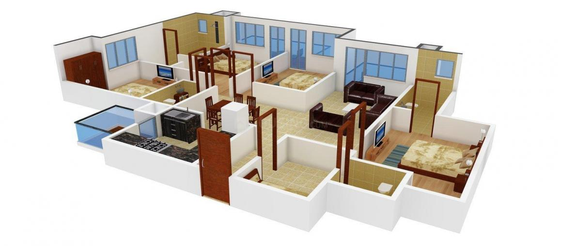 KLJ Vedanta Floor Plan: 4 BHK Unit with Built up area of 2050 sq.ft 1
