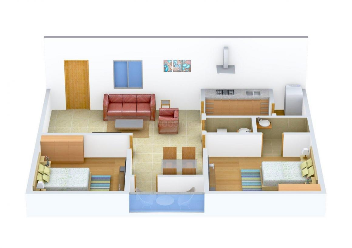 Floor Plan Image of 0 - 1000 Sq.ft 2 BHK Apartment for buy in Parkwood Signature
