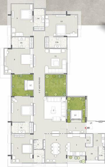 Rajyash Richmond Floor Plan: 5 BHK Unit with Built up area of 2995 sq.ft 3