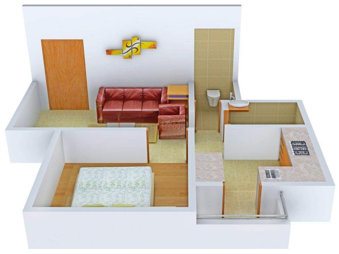 Skyline Ganesh Gold Floor Plan: 1 BHK Unit with Built up area of 765 sq.ft 1