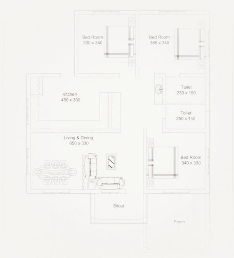 KB Project Floor Plan: 3 BHK Unit with Built up area of 1120 sq.ft 1