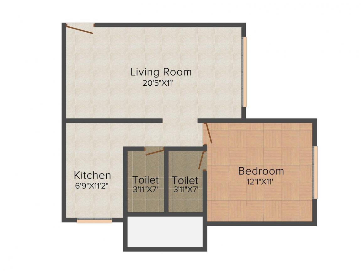 GSA Constructions GSA Serene Floor Plan: 1 BHK Unit with Built up area of 521 sq.ft 1