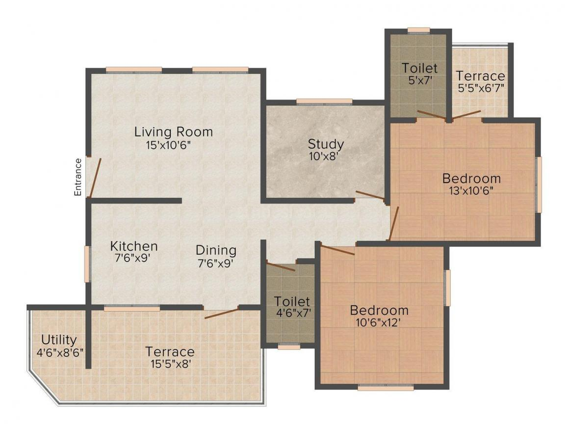 Reelicon Claramount Floor Plan: 2 BHK Unit with Built up area of 1231 sq.ft 1