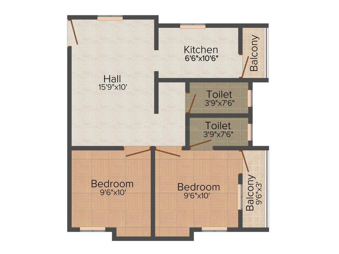 Minerva Kesavan Manor Floor Plan: 2 BHK Unit with Built up area of 823 sq.ft 1