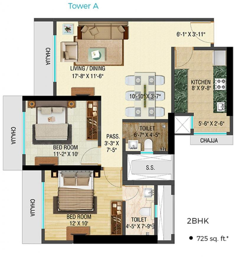 Bhoomi Celestia A Wing Floor Plan: 2 BHK Unit with Built up area of 725 sq.ft 1