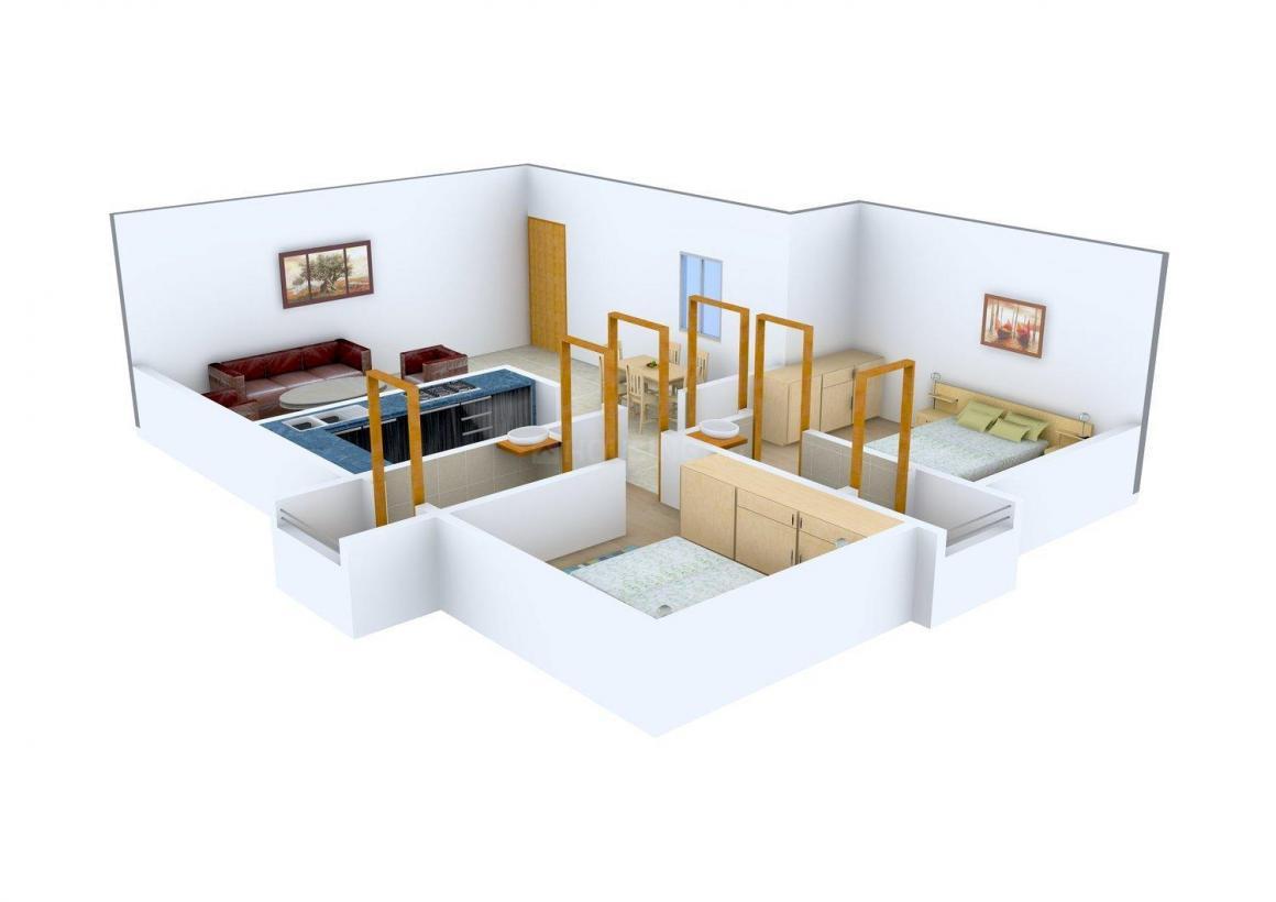 Floor Plan Image of 530.0 - 712.0 Sq.ft 2 BHK Apartment for buy in Raja Ram Chavan Orchid Springs