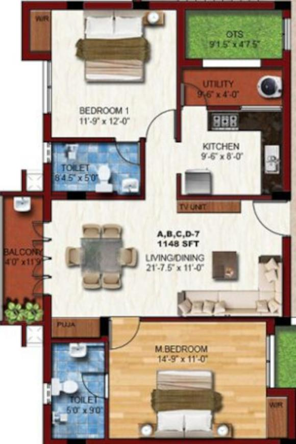 KCee Apoorvam Floor Plan: 2 BHK Unit with Built up area of 1148 sq.ft 1