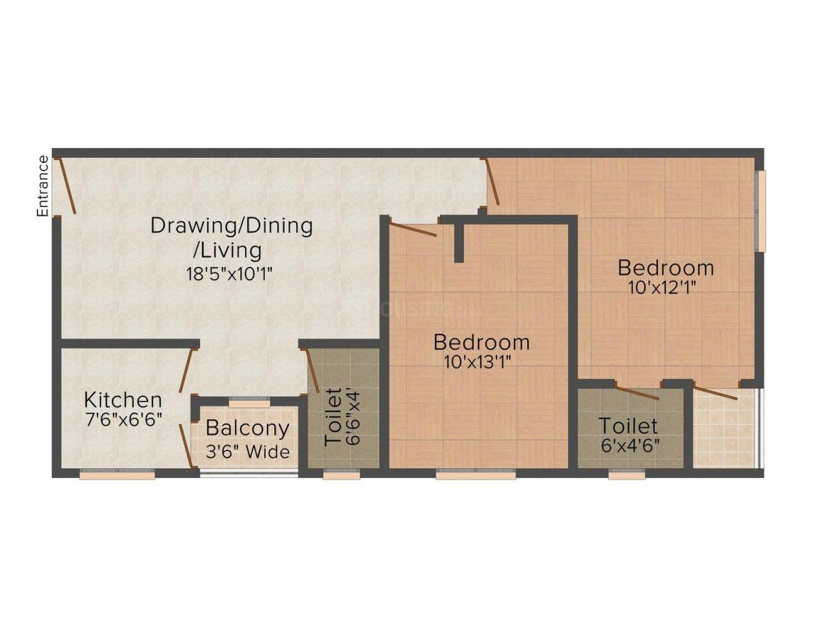 Floor Plan Image of 900 - 1100 Sq.ft 2 BHK Apartment for buy in GM Enclave