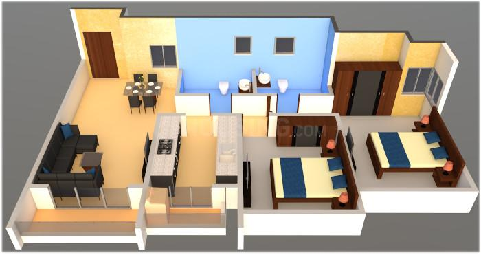 Courtyard Floor Plan: 2 BHK Unit with Built up area of 519 sq.ft 1
