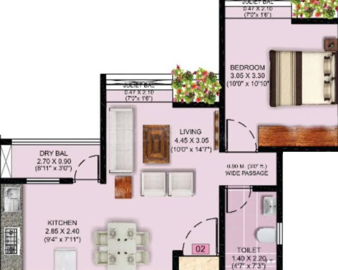 Puraniks Abitante Floor Plan: 1 BHK Unit with Built up area of 489 sq.ft 1