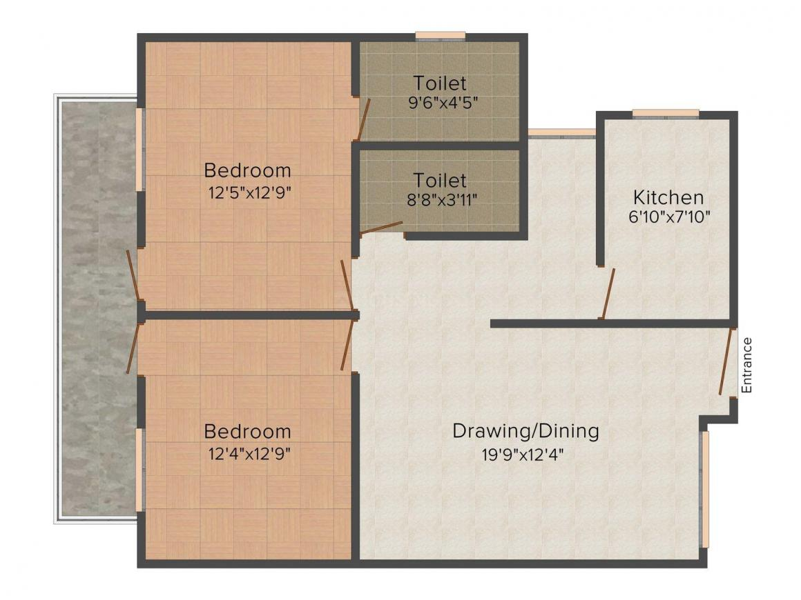 Floor Plan Image of 1133.0 - 1714.0 Sq.ft 2 BHK Apartment for buy in RK Park Ultima