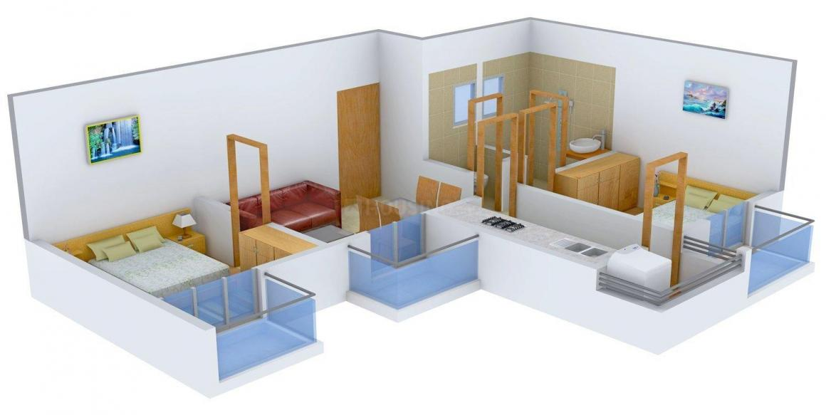 Golden Opulence Floor Plan: 2 BHK Unit with Built up area of 690 sq.ft 1