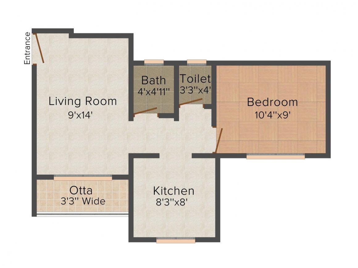 Floor Plan Image of 683.0 - 761.0 Sq.ft 1 BHK Apartment for buy in Patel RPL Sai Residency