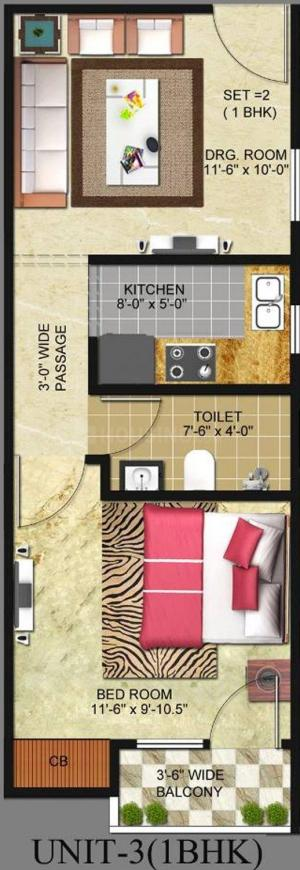 Freedom Homes Infratech Freedom Homes Floor Plan: 1 BHK Unit with Built up area of 550 sq.ft 1