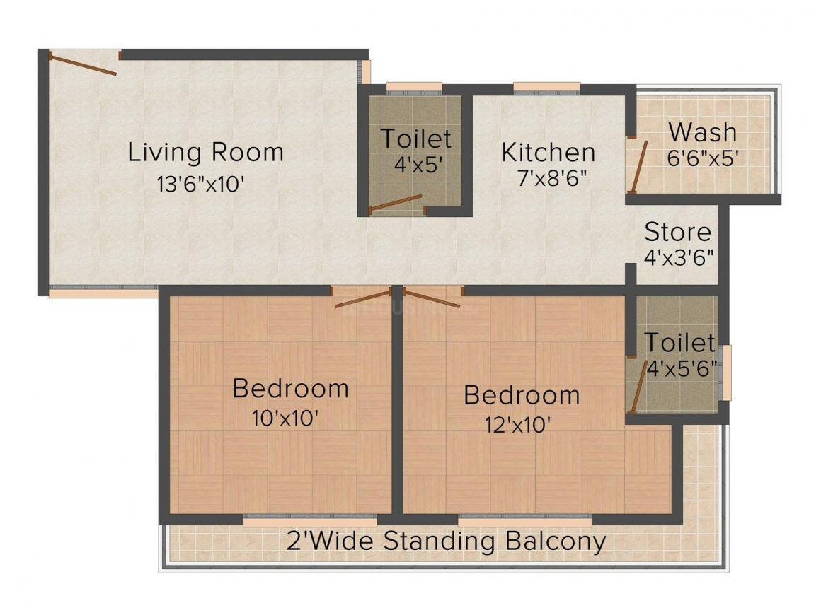 Shree Balaji Agora Residency Floor Plan: 2 BHK Unit with Built up area of 972 sq.ft 1