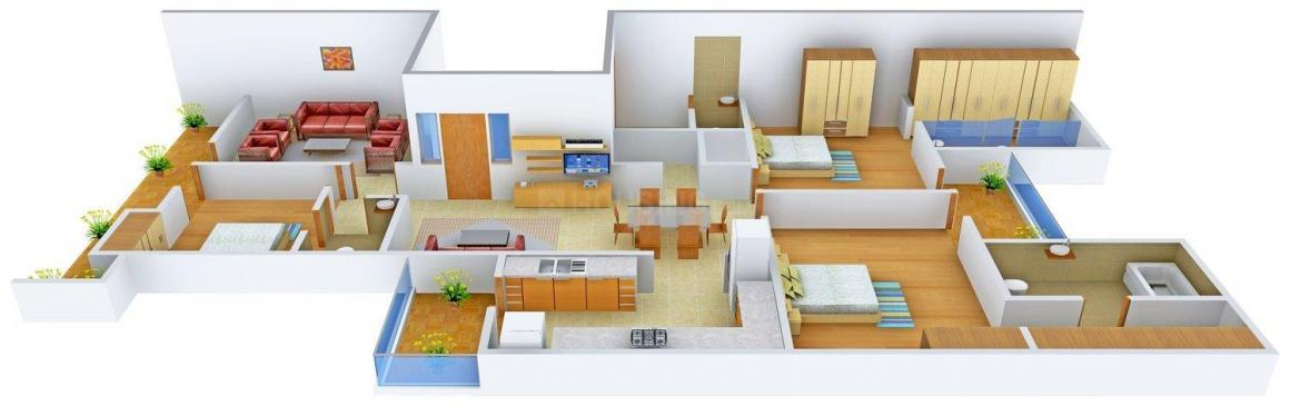Floor Plan Image of 0 - 2100.0 Sq.ft 3 BHK Independent Floor for buy in Raheja Floor - 1