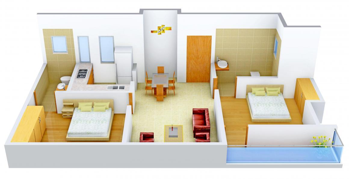 Floor Plan Image of 975.0 - 1709.0 Sq.ft 2 BHK Apartment for buy in Maharshee Jairam Apartments