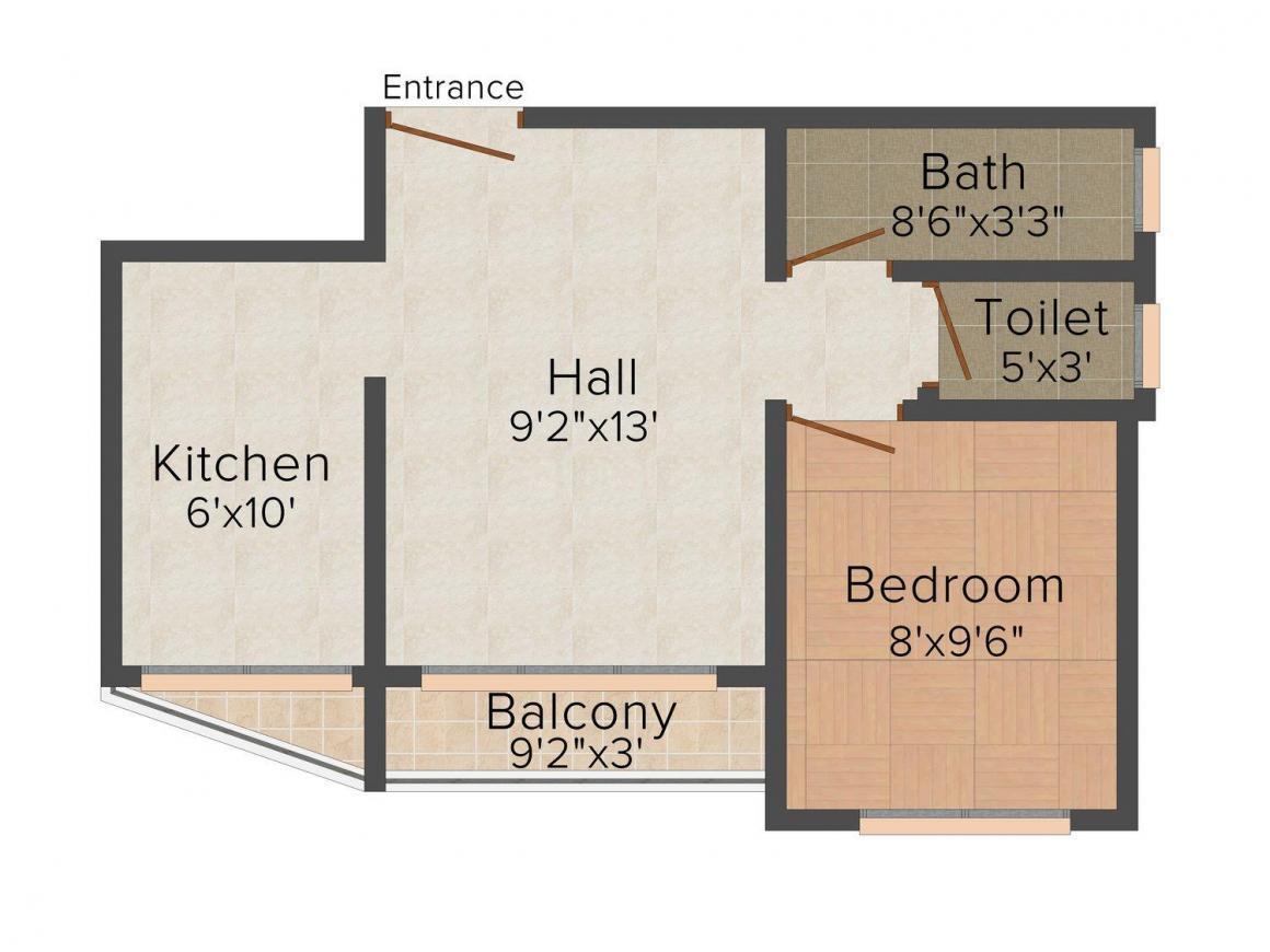 Floor Plan Image of 0 - 535 Sq.ft 1 BHK Apartment for buy in J.K Ambar Residency