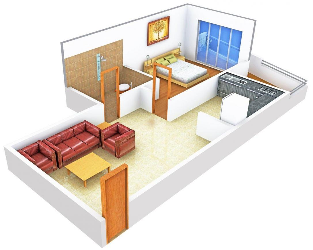 Eternity Serene Floor Plan: 1 BHK Unit with Built up area of 585 sq.ft 1