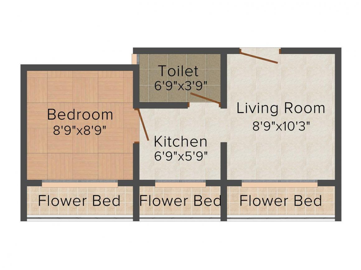Floor Plan Image of 0 - 340.0 Sq.ft 1 BHK Apartment for buy in Sai Dham