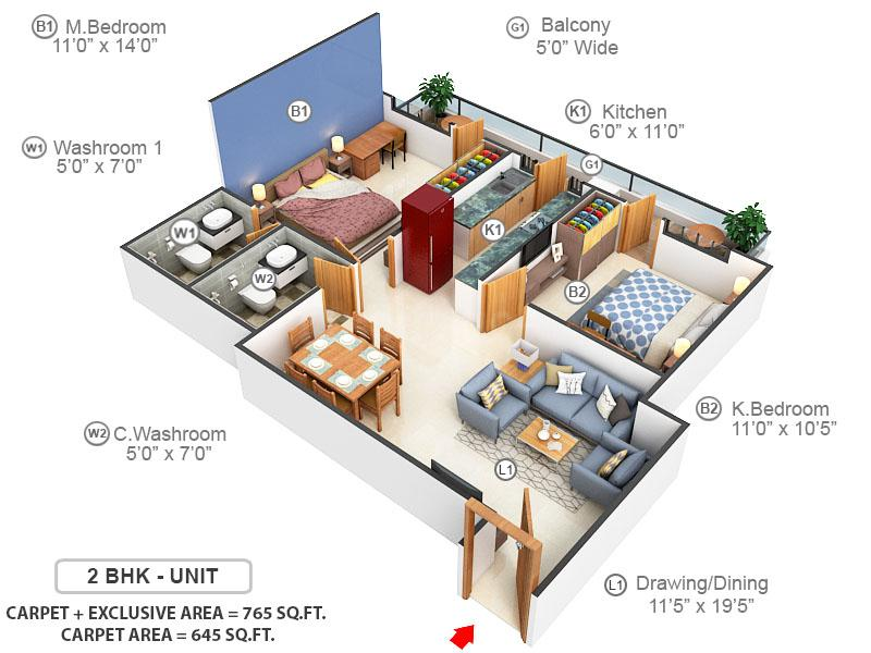 Sarvome Shree Homes Floor Plan: 2 BHK Unit with Built up area of 645 sq.ft 1