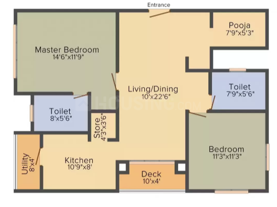 Lodha Meridian Super 60 Floor Plan: 2 BHK Unit with Built up area of 1342 sq.ft 1
