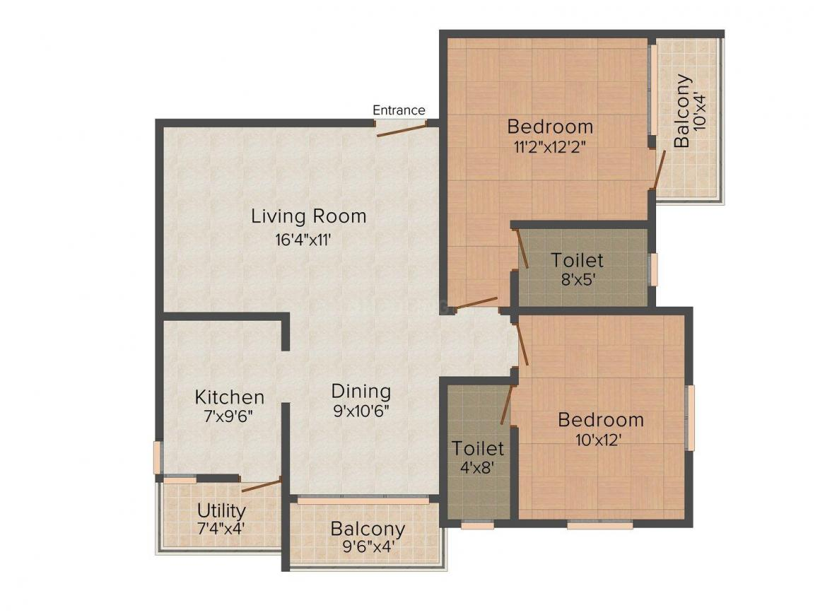 Stargold Sakthi  Silver Spring Floor Plan: 2 BHK Unit with Built up area of 1095 sq.ft 1