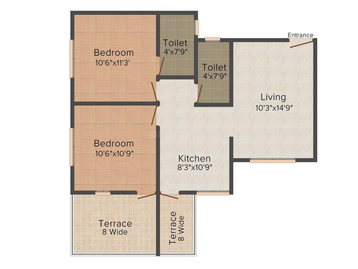 Floor Plan Image of 495.0 - 875.0 Sq.ft 1 BHK Apartment for buy in Chadan Sai Avenue