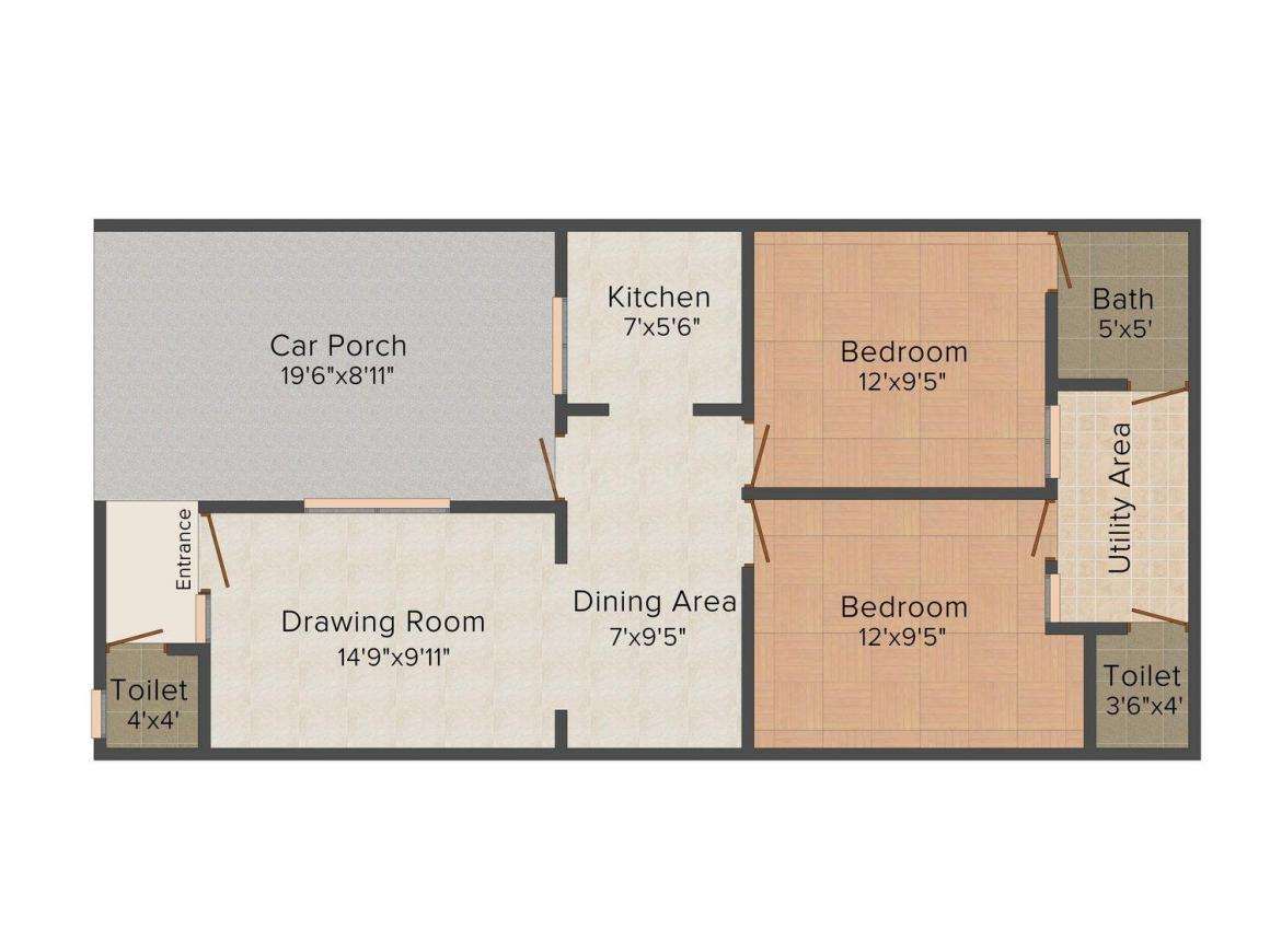 Mani Ashiyana 2 Floor Plan: 2 BHK Unit with Built up area of 900 sq.ft 1
