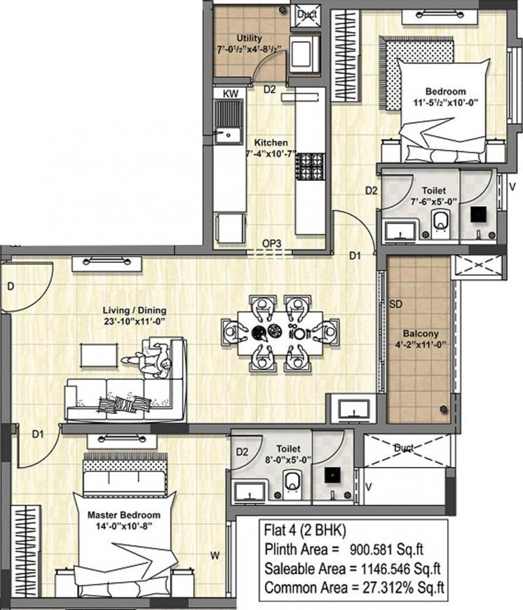Floor Plan Image of 1100.0 - 1639.0 Sq.ft 2 BHK Apartment for buy in DRA Tuxedo