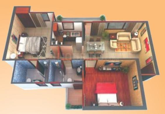 AFOWO Raksha Addela Floor Plan: 2 BHK Unit with Built up area of 1080 sq.ft 1