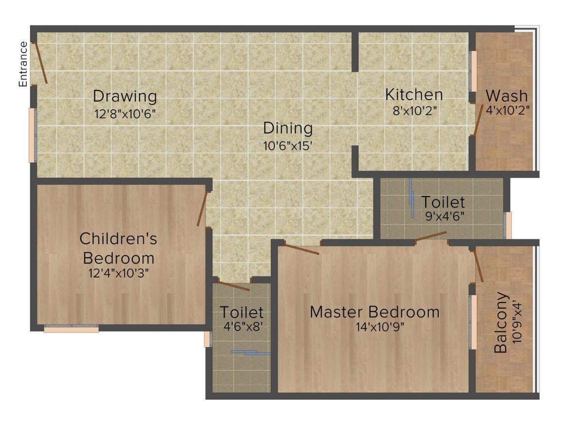 Floor Plan Image of 1105.0 - 1470.0 Sq.ft 2 BHK Apartment for buy in Ushodaya Aqua