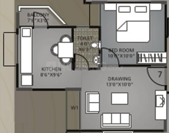 Sun Divine 3 Floor Plan: 1 BHK Unit with Built up area of 648 sq.ft 1