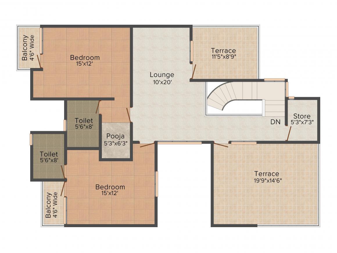Floor Plan Image of 0 - 2815.0 Sq.ft 4 BHK Villa for buy in Ansal Charmwood Villas