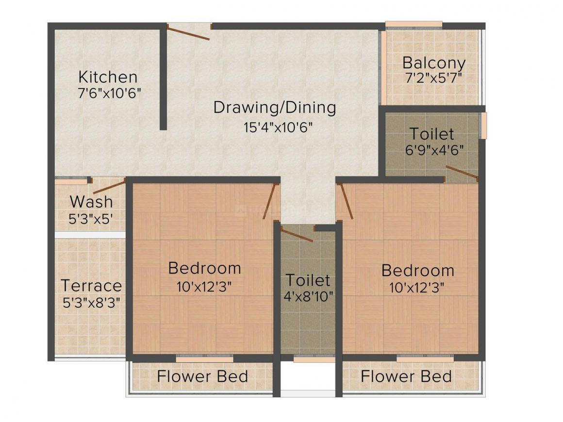 Suryam Arcade Alice Floor Plan: 2 BHK Unit with Built up area of 650 sq.ft 1