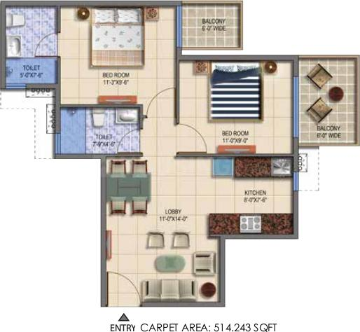 Signature Global The Roselia Floor Plan: 2 BHK Unit with Built up area of 514 sq.ft 1