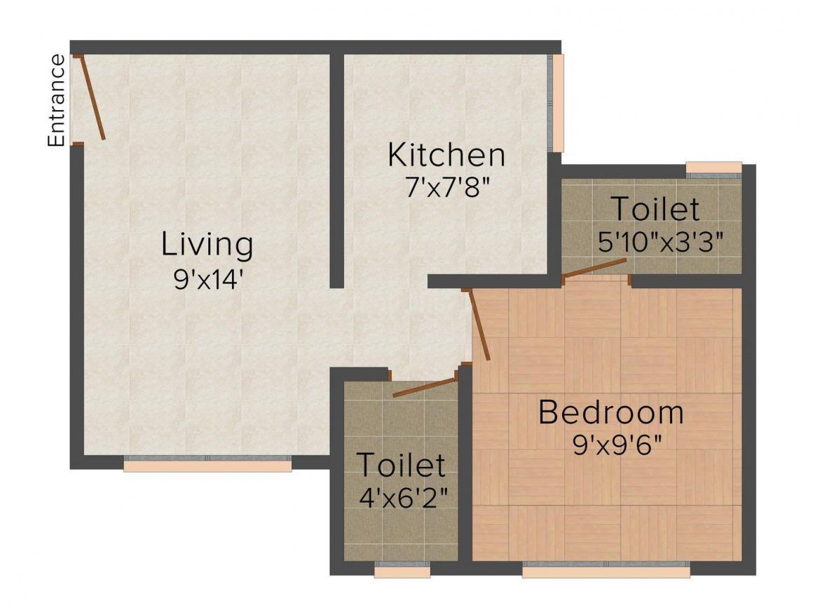 Floor Plan Image of 0 - 545 Sq.ft 1 BHK Apartment for buy in Gad Meraj Manzil
